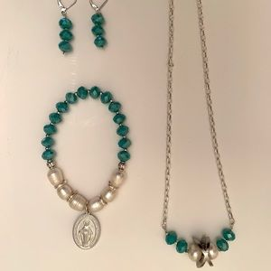 Jewelry - Unique Set of Necklace, Bracelet and Earrings